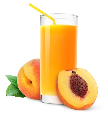 Glass of peach juice isolated on white