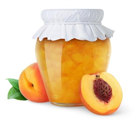桃のジャム、白で隔離される新鮮な桃 写真素材