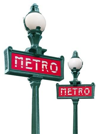 streetlamp: Paris metro sign isolated on white