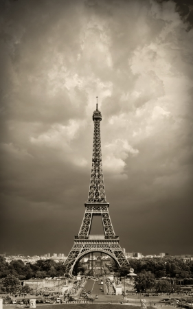 sky  dramatic: Eiffel tower sepia toned against the dramatic sky  Paris, France
