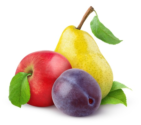 Apple, pear and plum isolated on white photo