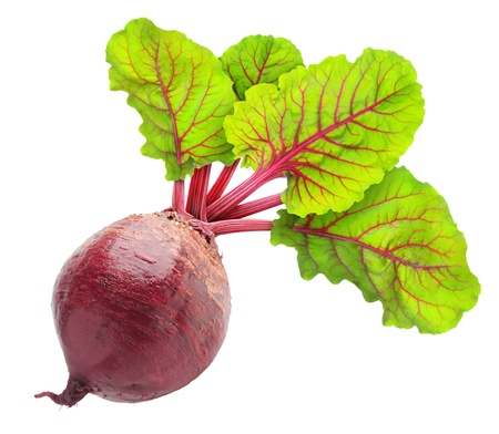 Fresh beetroot with leaves isolated on white Stock Photo