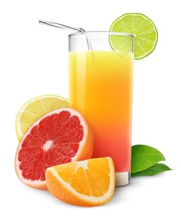 白で隔離される柑橘類ジュース 写真素材