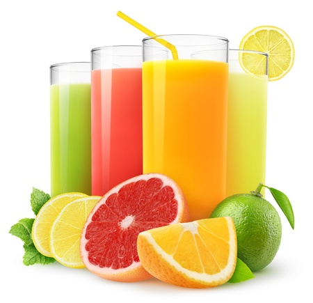 red straw: Fresh citrus juices isolated on white