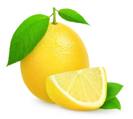 Fresh lemon isolated on white photo