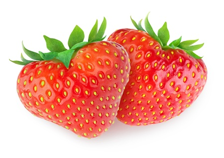 pretty s shiny: Two heart-shaped strawberries isolated on white
