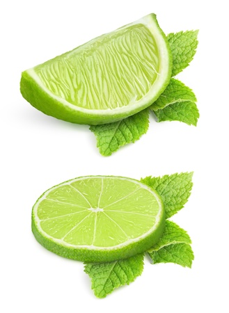 Two pieces of lime and mint leaves isolated on white Stock Photo