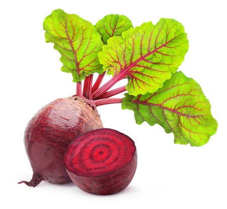 Fresh beetroot with leaves isolated on white photo