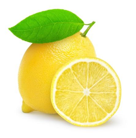 新鮮なレモンの白で隔離 写真素材
