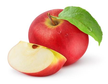 appel water: Rode appel geïsoleerd op wit Stockfoto