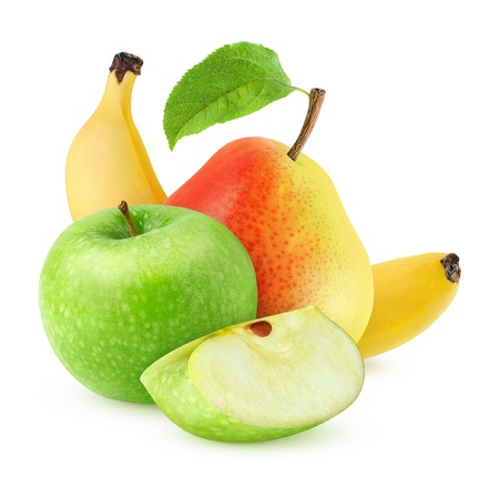 fruta tropical: Dulce de manzana, pera y plátano aislados en blanco