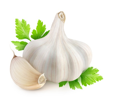 Garlic and parsley isolated on white Фото со стока