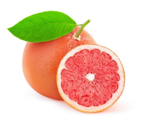 Roze grapefruit geïsoleerd op wit Stockfoto