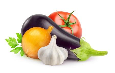 imam: Eggplant, tomato, onion and garlic isolated on white