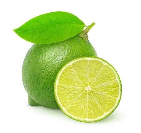 레몬: 신선한 라임 화이트에 격리