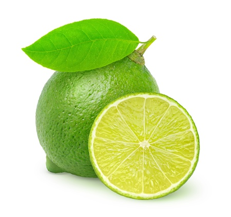 lime green background: Fresh lime isolated on white Stock Photo