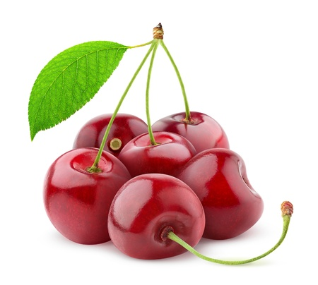 Sweet cherries isolated on white Imagens