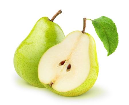pear: Peras frescas aisladas en blanco Foto de archivo