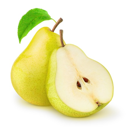 Fresh yellow pears isolated on white