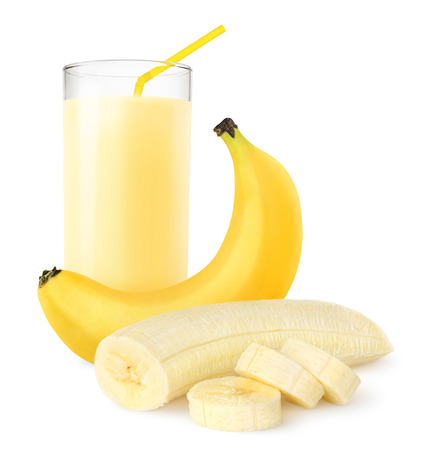 흰색에 고립 된 신선한 바나나 쉐이크 스톡 콘텐츠