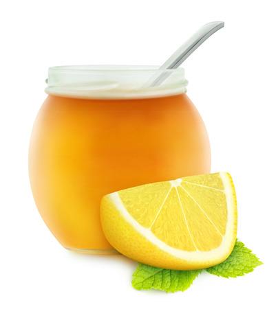 Honey, lemon and mint  natural medicine for winter flu , isolated on white Stock Photo