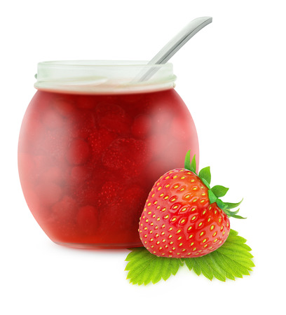 Strawberry jam isolated on white photo