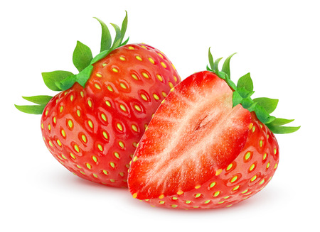 Two strawberries isolated on white