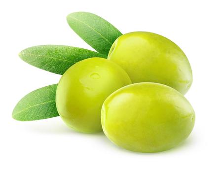 Tres aceitunas verdes aisladas en blanco Foto de archivo - 23213544