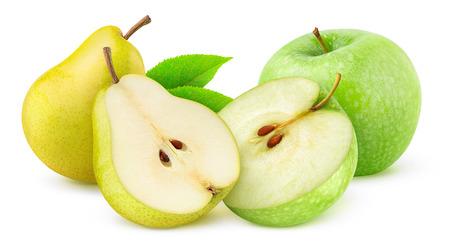 pera: Manzanas y peras aislados en blanco