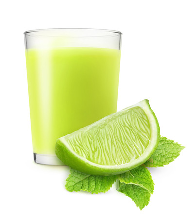 lime juice: Glass of lime juice and mint isolated on white