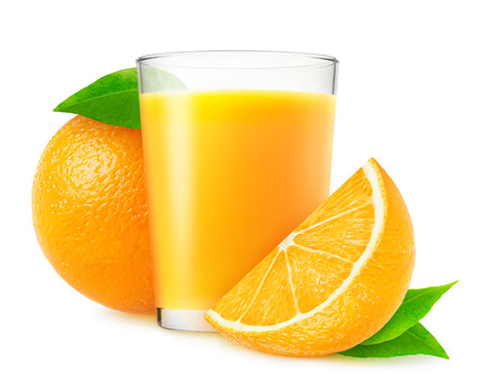 Orange juice and fresh oranges isolated on white photo