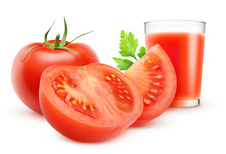 Glass of tomato juice and fresh tomatoes isolated on white