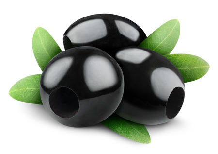 pitted: Pitted black olives isolated on white
