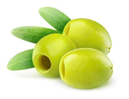 pitted: Olive verdi snocciolate isolato su bianco Archivio Fotografico