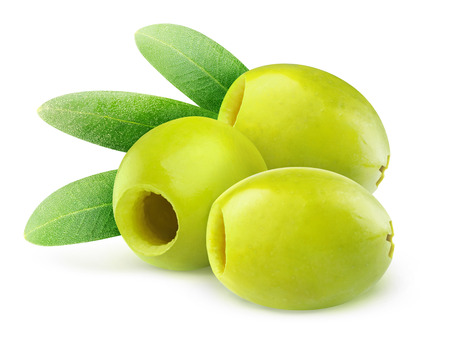 pitted: Pitted green olives isolated on white
