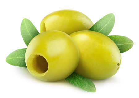 Pitted green olives isolated on white