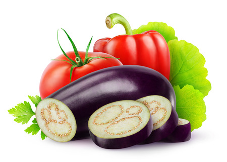 Eggplant, tomato and bell pepper isolated on white photo
