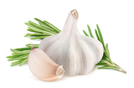 Garlic and rosemary isolated on white