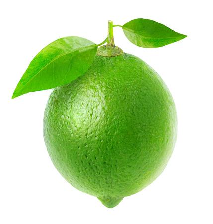 Green lemon isolated on white
