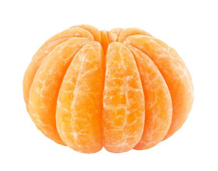 soyulmuş: Soyulmuş mandalina beyaz izole