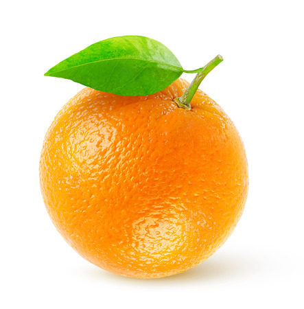 One fresh orange isolated on white