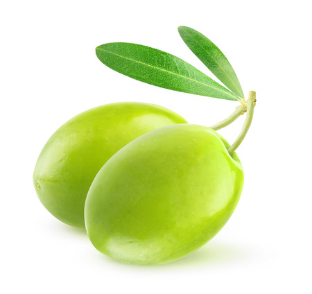 Two green olives isolated on white