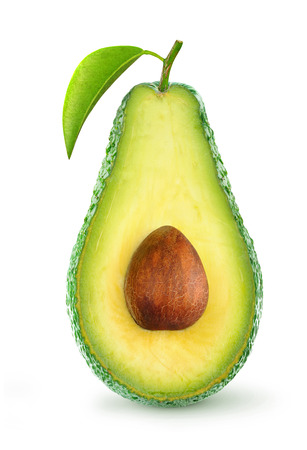 Half of avocado fruit isolated on white 免版税图像
