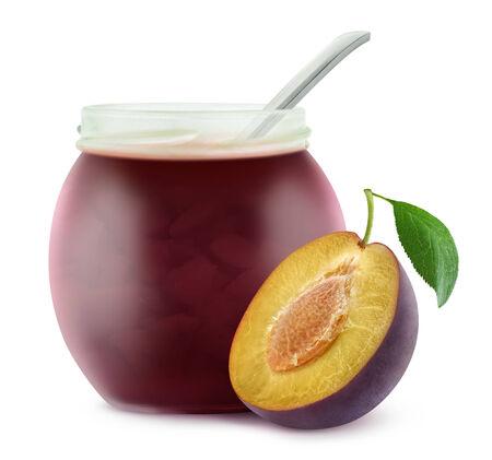 Plum jam isolated on white photo