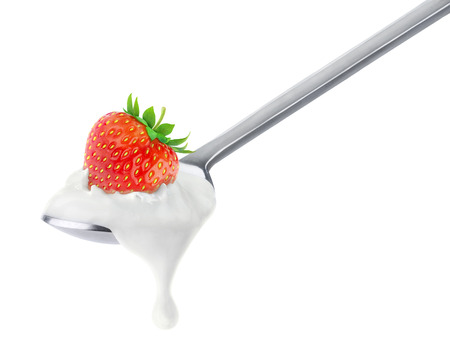 Spoon of strawberry yogurt isolated on white