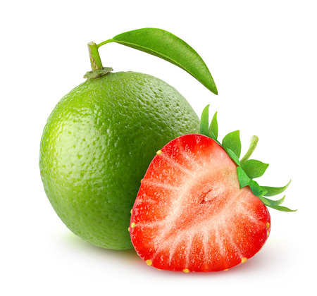 Lime and strawberry isolated on white Фото со стока