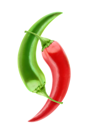 tabasco: Red and green hot peppers isolated on white
