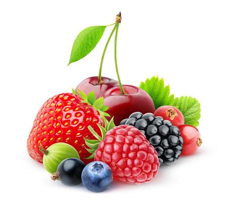흰색에 고립 된 신선한 딸기