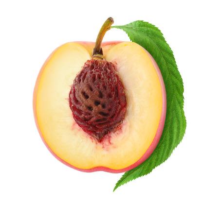 Half of fresh peach isolated on white Stock Photo