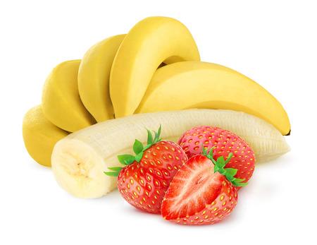 platano maduro: Pl�tano y fresa aislados en blanco